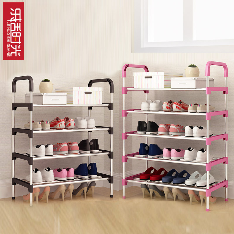 Simple Shoe Rack Assembled Steel Tube Door Shoes Stand Economical Dust-proof Rust-proof Living Room Shoes Storage Furniture 4 layers of simple dust proof moisture proof shoe rack thick non woven stainless steel shoe free assembly of home furniture