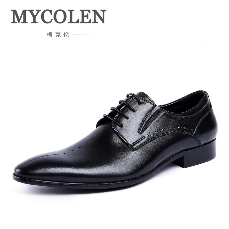 MYCOLEN 2018 Autumn New Genuine Leather Lace Up Men Formal Shoes Pointed Toe Business Office Male Dress Shoe Brown Men's Flat patent leather men s business pointed toe shoes men oxfords lace up men wedding shoes dress shoe plus size 47 48