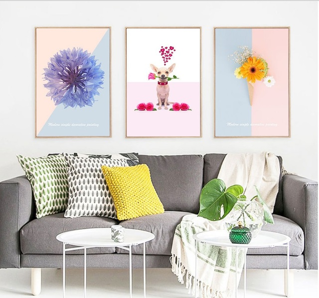 Modern Minimalist Aesthetic Flowers Puppy 3 Pieces Wall