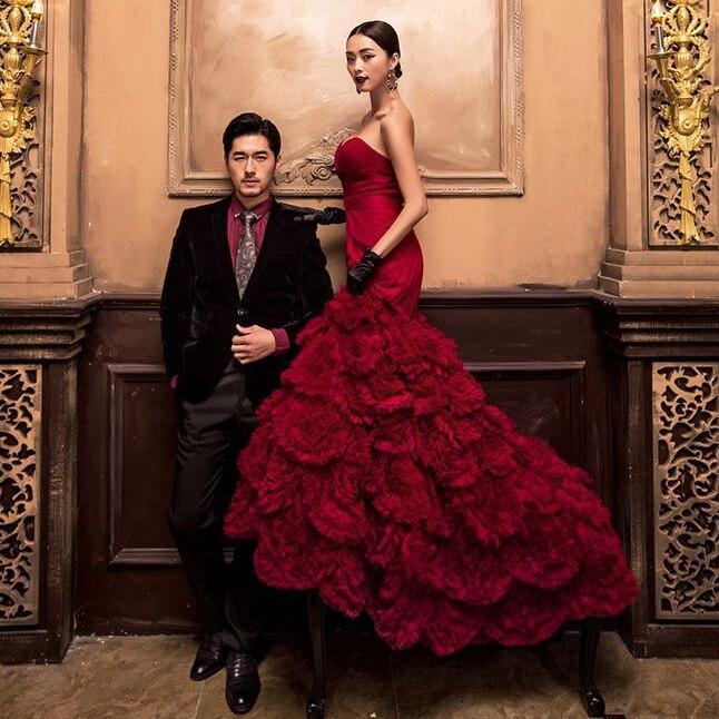 Wedding Gown Stores Nyc: Tnew Burgundy Disk Flowers Long Train Mermaid Wedding