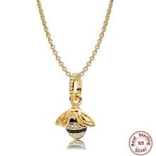 Moda de lujo serie abeja 100% 925 plata esterlina oro brillo Abeja Reina COLLAR COLGANTE encanto para las mujeres pando joyería collar
