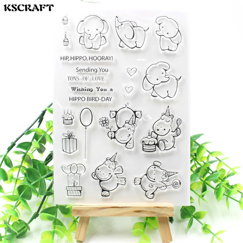 KSCRAFT Cute Elephants Transparent Clear Silicone Stamp/Seal for DIY scrapbooking/photo album Decorative clear stamp sheets about lovely baby design transparent clear silicone stamp seal for diy scrapbooking photo album clear stamp paper craft cl 052