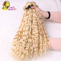 Facebeauty 5 Bundles Wholesale 613 Blonde Color Human Hair Products Brazilian Deep Curly Bundles Remy Hair Weave Free Shipping