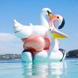 Flamingo inflável piscina float float rosa passeio-no anel de natação adultos crianças água festa de férias brinquedos piscina 150 cm