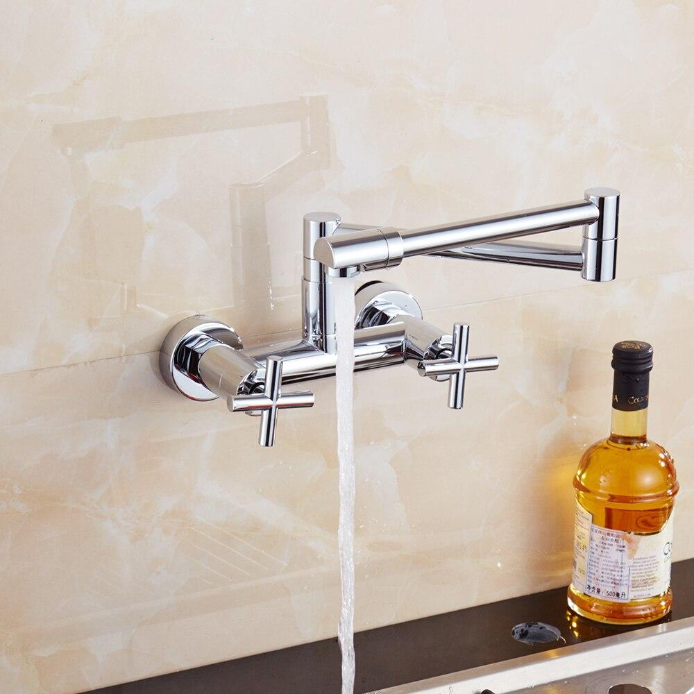 Kostenloser Versand Messing Chrom Doppel griff küche wasserhahn 360 grad drehen küche mixer folding tap mit spray bidet für Küche - 5