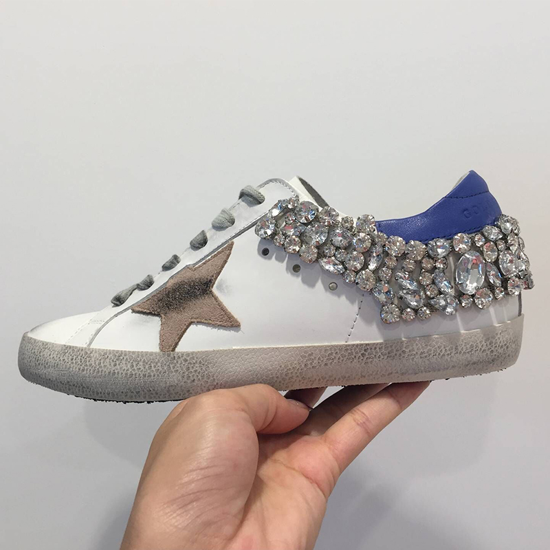 Women Casual Shoes Gray Star with Shining beads Shoes Genuine Cow Leather Lace Up Vintage Do Old Dirty Shoes zapatos de mujer 40 woman burst leather casual shoes golden star women do old dirty shoes female lace up distressed leather vintage flat shoes