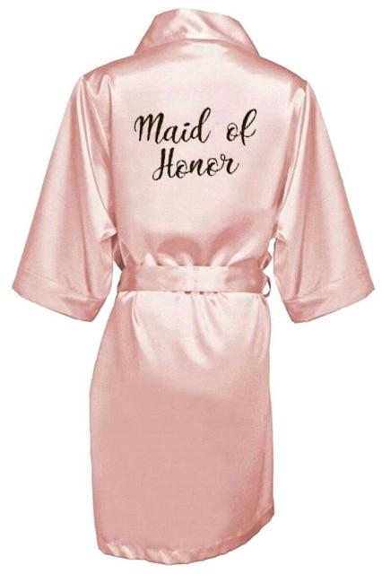 Image 4 - 新しい花嫁介添人ローブ白黒手紙母姉妹花嫁のウェディングギフトのバスローブ着物サテンローブ    グループ上の 下着