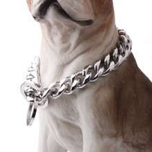 Popular Simple Silver 316L Stainless Steel Curb Cuban Dog Chain Neck Dog Chain Training Choke Collars 17mm Wide Necklace