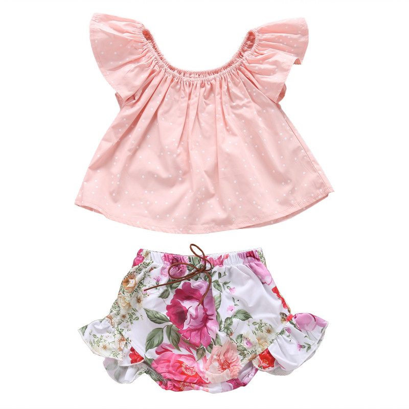 2Pcs Toddler Kids Baby Girls Cotton Dot Vest Blouse Tops+Floral Ruffles Shorts Romper Outfits Kid Infant Summer Clothes Set New 2017 summer toddler kids girls striped baby romper off shoulder flare sleeve cotton clothes jumpsuit outfits sunsuit 0 4t