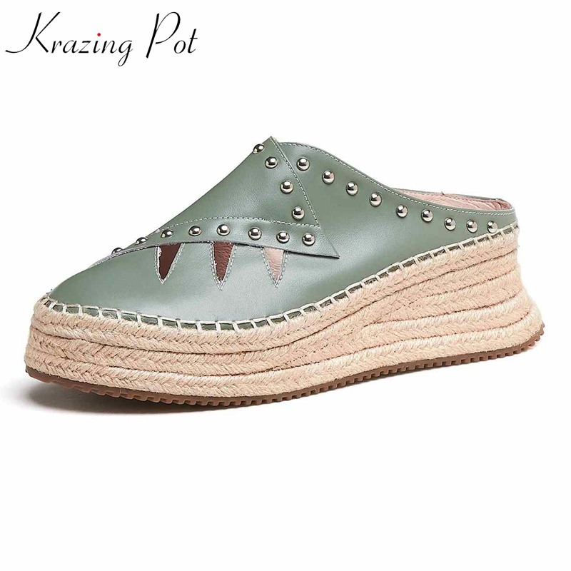Krazing Pot genuine leather metal rivets straw bottom flat platform princess style slip on loafers round