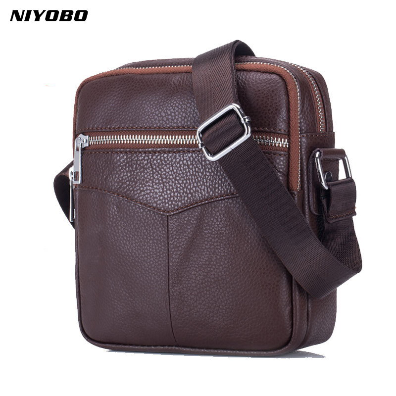 NIYOBO Vintage Cowhide Genuine Leather Messenger Bag Men Sling Chest Small Bag For Male Casual Top-handle Shoulder Bags 2018 New