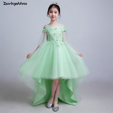 Real Photo Flower Girl Dresses Ball Gown Front Short Long Back Lace Girls Party Dress Kids Beauty Pageant Dresses For Girls long kids prom dress beaded ball gown dress for girls fantasia infantil para menina little girls pageant dresses 2 12 years