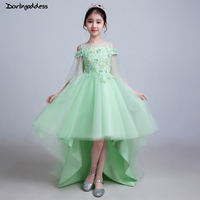 Real Photo Flower Girl Dresses Ball Gown Front Short Long Back Lace Girls Party Dress Kids Beauty Pageant Dresses For Girls