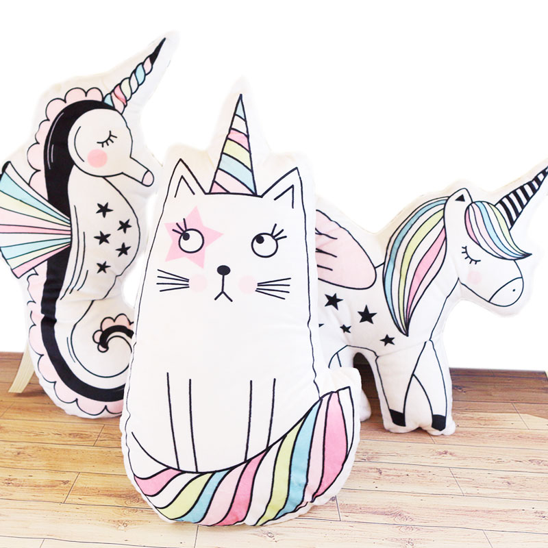 wholesale Cartoon unicorn feather cushion Cute cat cartoon pillow Anime toy baby kids sleep appease doll birthday/Xmas gift