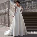 DW2988 V Neck Long Sleeve Lace  Wedding Dresses With Pleated Plus Size Vestido De Noiva Customized