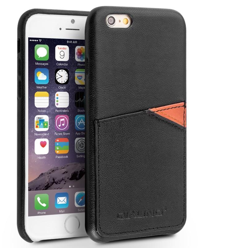 QIALINO äkta läderfodral för iPhone 6 & 6s Fashion Insert Card - Reservdelar och tillbehör för mobiltelefoner - Foto 3
