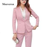 Women 2 Piece Business Blazer Suit Set Slim Fit Professional Female Long Sleeve Pant Suits Fashion