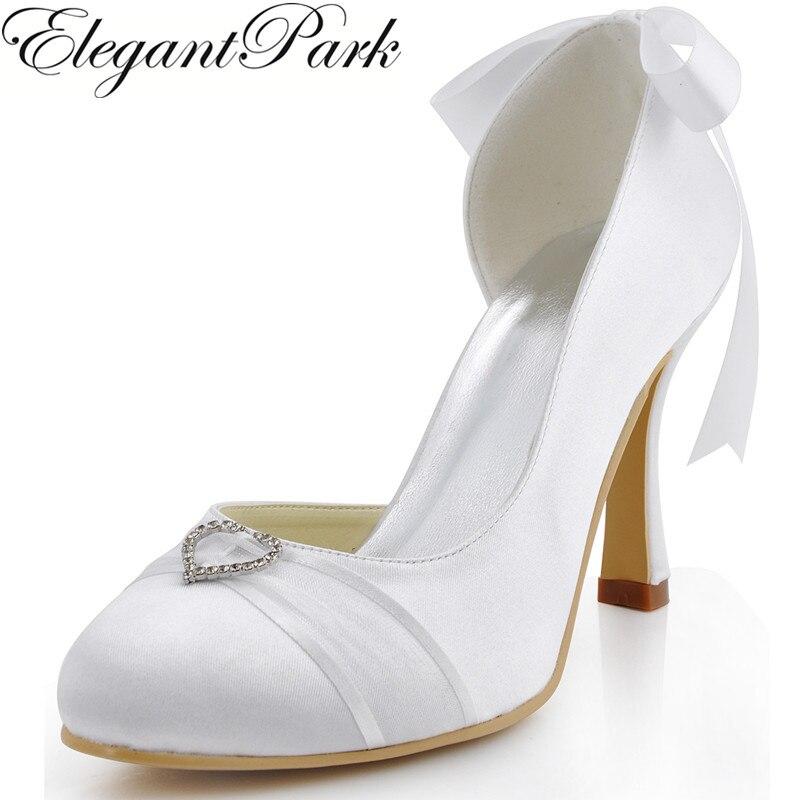 Chaussures de mariage femme A0617-C bout fermé coeur boucle Satin talon haut demoiselles d'honneur pompes femmes mariée chaussures blanc ivoire dame chaussures