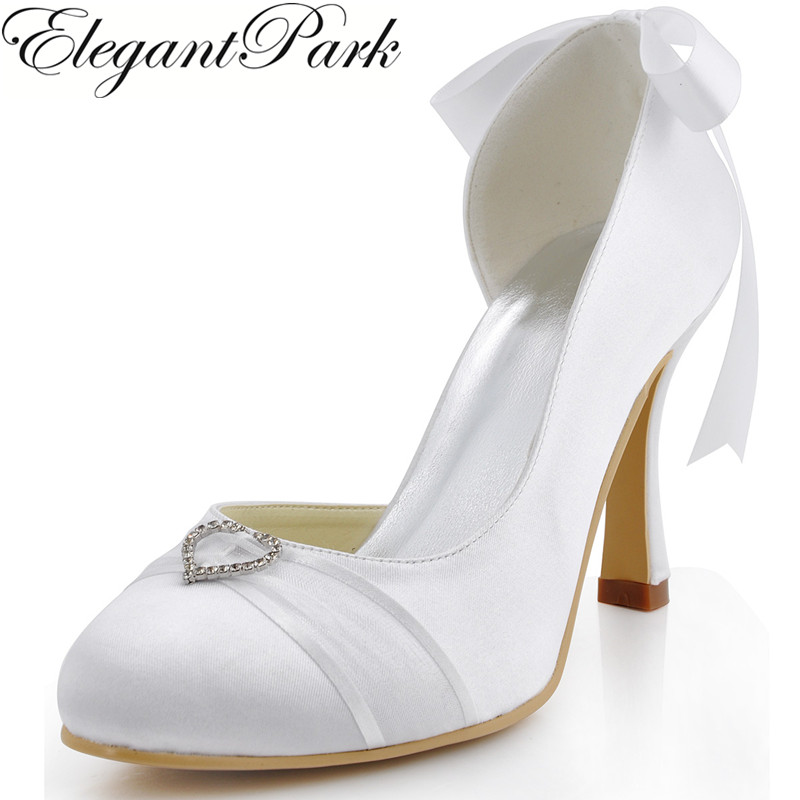 Wedding Shoes Woman A0617-C Closed Toe Heart Buckle Satin High Heel Bridesmaids Pumps Women's Bride Shoes White Ivory Lady Shoes