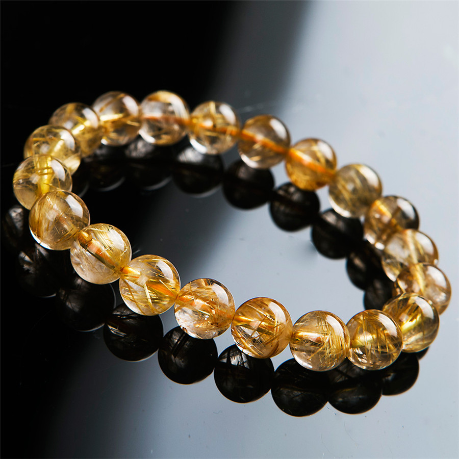 9.5mm Genuine Brazil Natural Titanium Rutilated Quartz Crystal Bracelets Women Femme Charm Stretch Round Bead Bracelet 8 5mm natural zoisite gem stone crystal round bead bracelets for women femme charm stretch bracelet