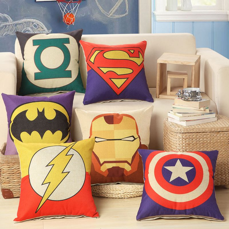 Capa de Almofada De linho Super Hero 45x45 cm / 17.7x17.7 '' Para Algodão Decorativo Throw Pillowcase Decor Couch