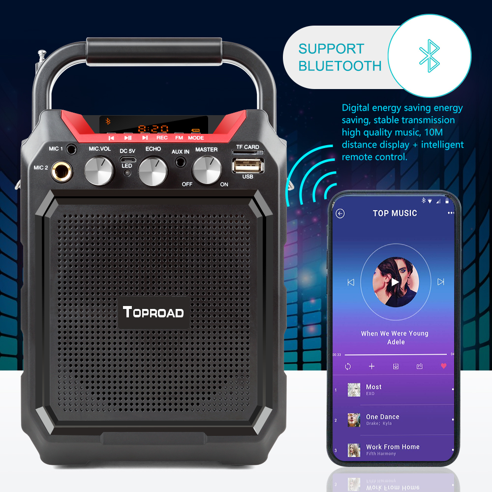 TOPROAD Portable Wireless Bluetooth Speaker With 3D Sound System Microphone And Remote Control 4
