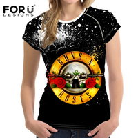 FORUDESIGNS Fashion 3D Women Gun N Roses Printing T Shirt Female Tops Tee Soft Black Tshirt