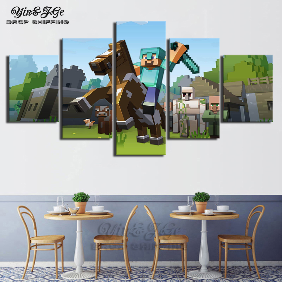 Home Room Wall Art Pictures Hd Printed 5 Piece Game Poster Minecraft Modular Canvas Paintings Frameworks Artworks