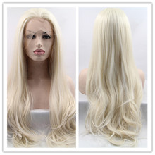 2016 Hot Sale Heat Resistant Wigs Blonde Wavy Synthetic Lace Front Wigs for Women