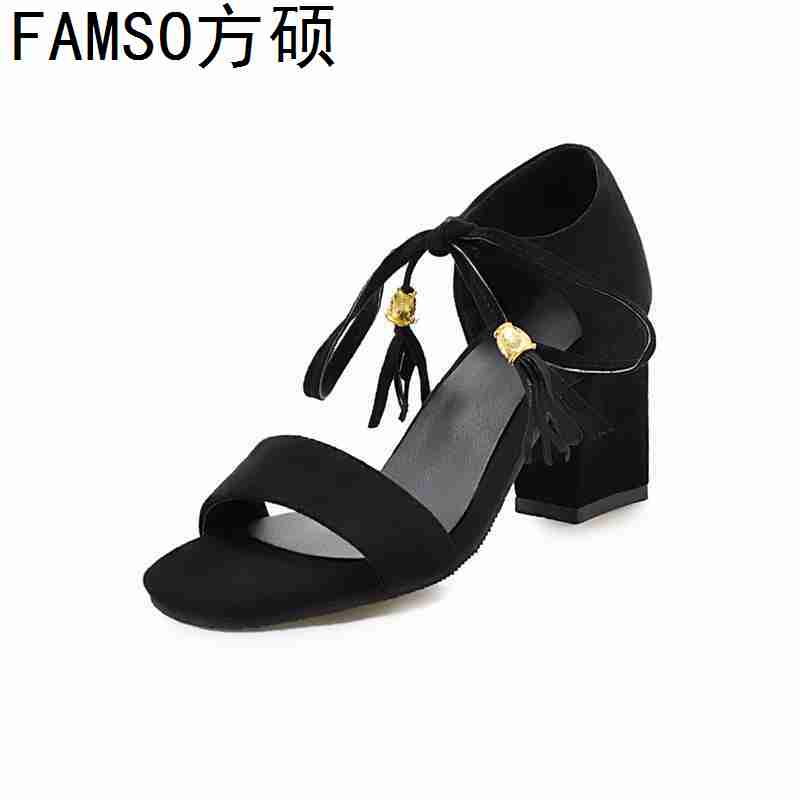 FAMSO 2019 New Shoes For Women Size 34 43 Hoof Heels High Heels Fashion Wedding Shoes Lace up Summer Tassel Sandals Shoes