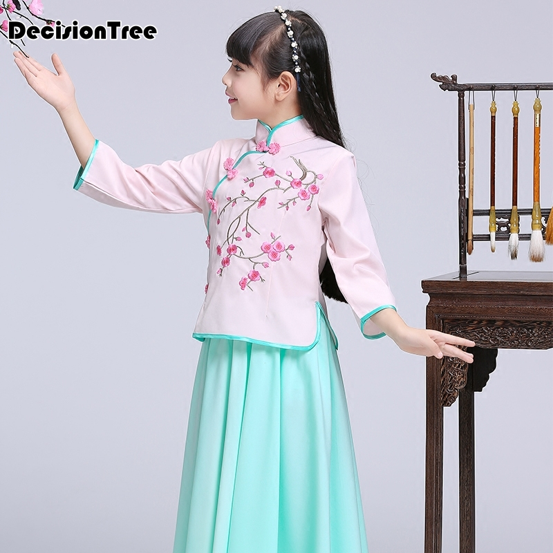 2019 new chinese qipao kids baby girl floral peacock cheongsam dress Chi Pao Gift Clothes Children Clothing Girl Clothes