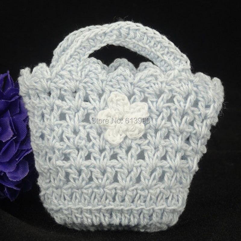 LANSSEN 12pcs 7cm miniature blue crochet bags baby shower favors/Props/Party Decorations