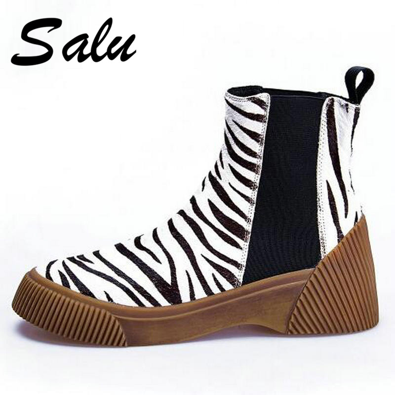 Salu New Ankle Boots Fashion Retro horsehair Women Shoes Handmade High Quality Spring Autumn Winter Short