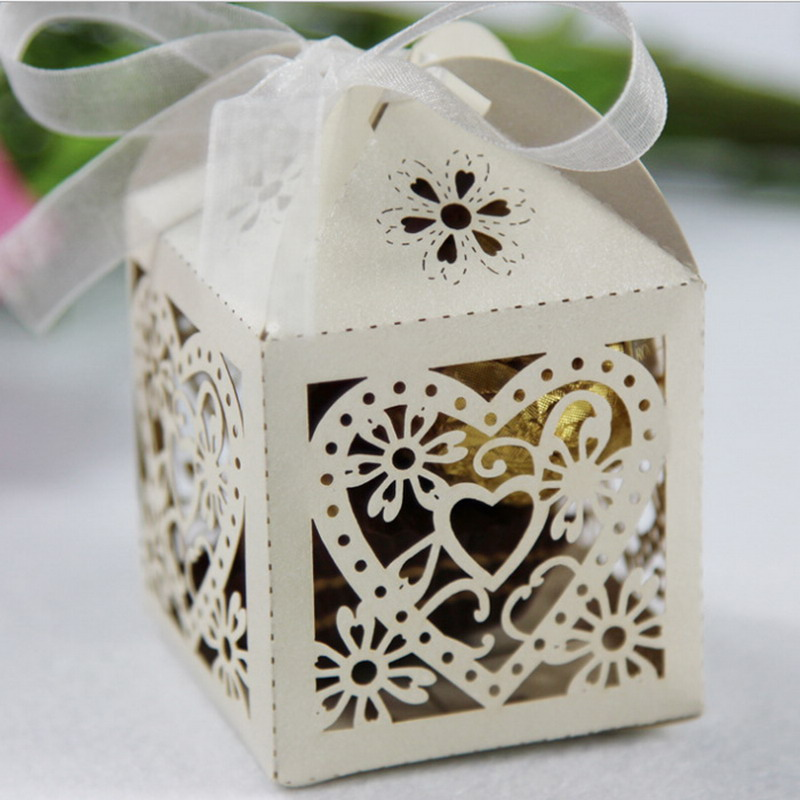 10pcs Love Heart Bird Cage Small Laser Gift Candy Boxes Wedding Party Favor Gift Box Bag With Ribbon Decor
