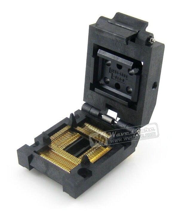 ФОТО QFP100 TQFP100 FQFP100 PQFP100 IC51-1004-814-6 Yamaichi QFP IC Test Burn-in Socket Programming Adapter 0.65mm Pitch