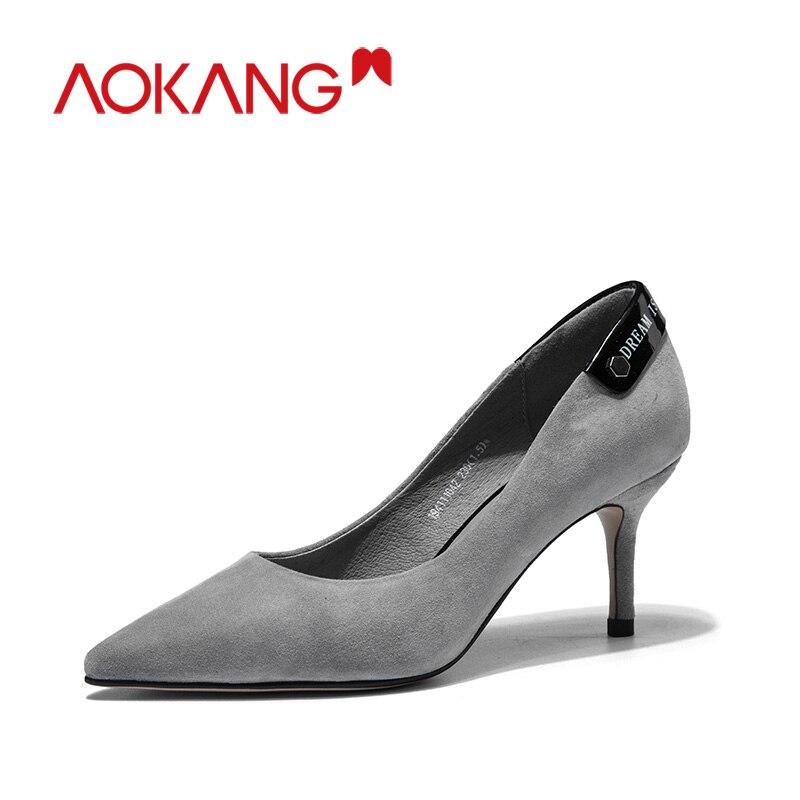 Kidsuede Chaussures 2019 En De Dames Pompes Aokang Haute Mode Black194111041 À Cuir Femmes Talon Bout Pointu Véritable grey194111042 F4xRWg7