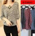Frete Grátis Encabeça gradiente mulheres casaquinho de malha crochet top camisola outerwear camisa da cor de Doces