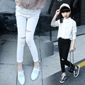 Girls leggings Legging infantil para menina Leggings girl Mode enfant Girl trousers Girls Fashionable ripped ankle-lenth pants