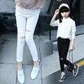 Polainas de las muchachas Legging infantil párr menina Leggings chica Mode enfant Muchacha pantalones Chicas de Moda tobillo-longitud pantalones rasgados