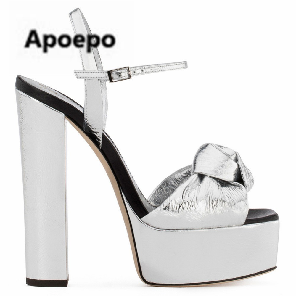 Apoepo sliver women sandals butterfly-knot platform shoes ladies peep toe high heels sandals women sexy pumps wedding shoes 2017 summer beaded flowers sexy high heels shallow peep toe lace ladies sandals net cloth elegant women s pumps wedding shoes