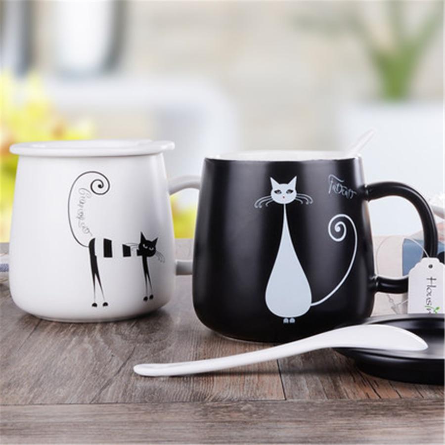 White Ceramic Cat Mugs Cup Gift Cute Personalized