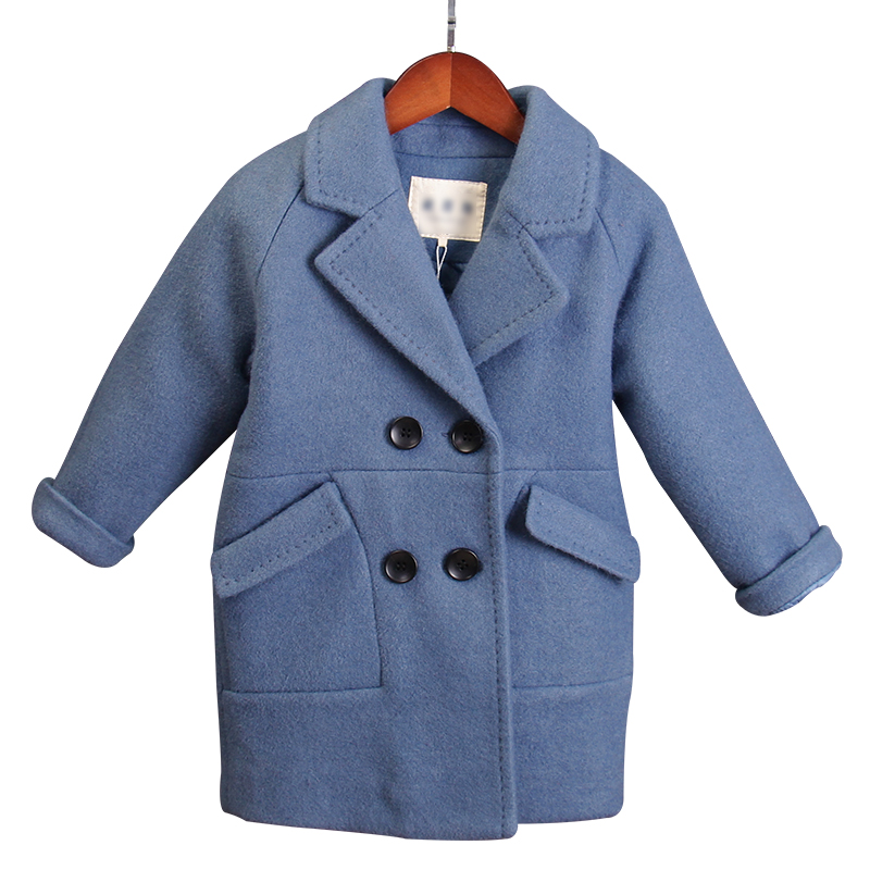 Boys woolen coat fashion long-sleeved double-breasted new children's woolen coat Korean children's clothing boys winter jacket