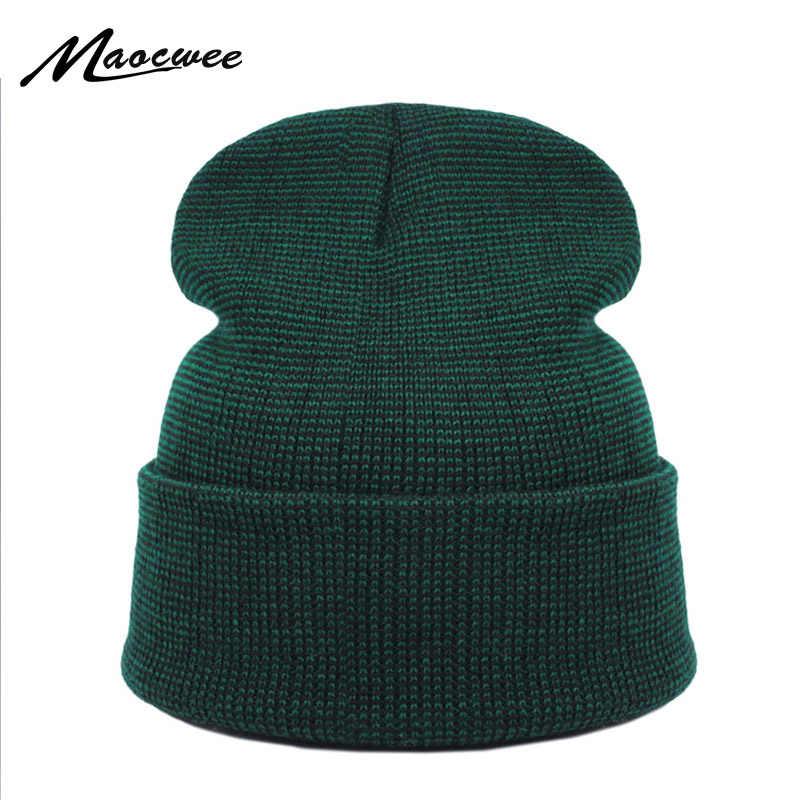 5ccee2fa Brand Winter Green Hat for Men Skullies Beanies Women Fashion Warm Ski Cap  Unisex Elasticity Knit