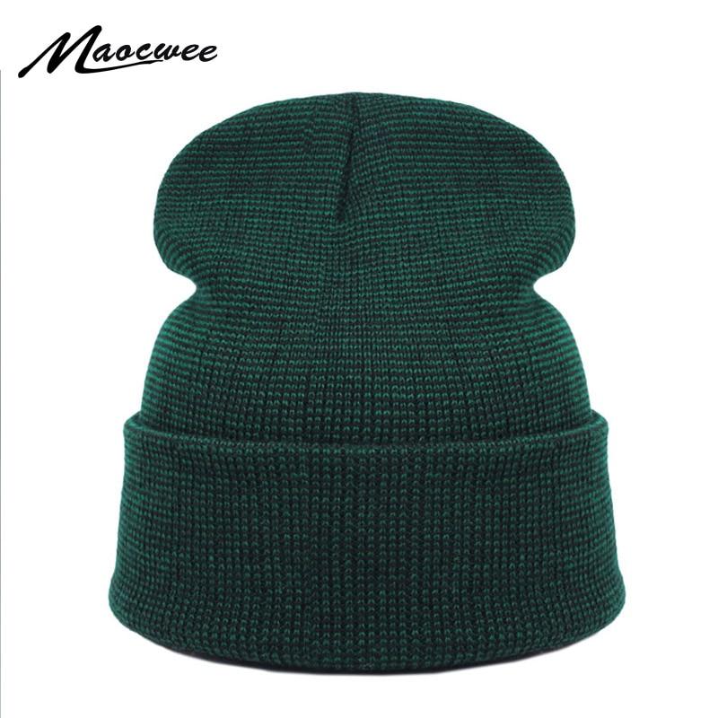 Brand Winter Green Hat for Men Skullies Beanies Women Fashion Warm Ski Cap  Unisex Elasticity Knit Beanie Hats Bones 2e30a9a25b0