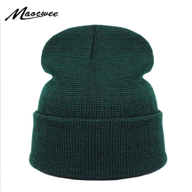 856b7612204 Brand Winter Green Hat for Men Skullies Beanies Women Fashion Warm Ski Cap  Unisex Elasticity Knit Beanie Hats Bones