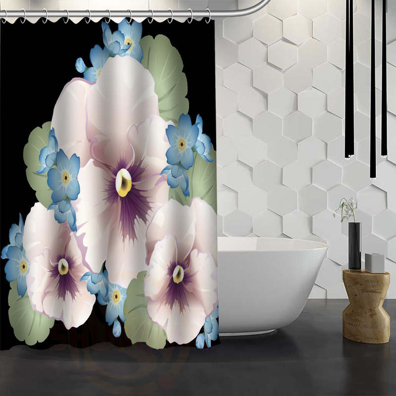 Custom Pansies Flower Shower Curtain With Hooks 3d Waterproof Polyester Fabric Bath For Bathroom