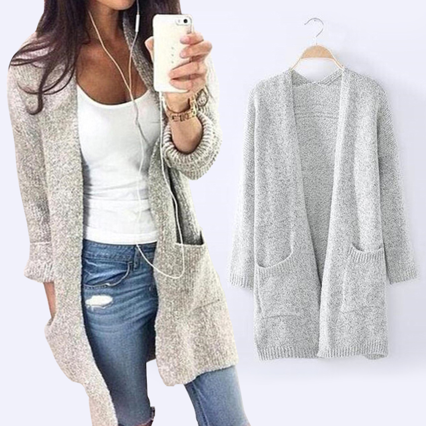 Women/'s Long Sleeve Casual Knitted Sweater Jumper Cardigan Knitwear Outwear