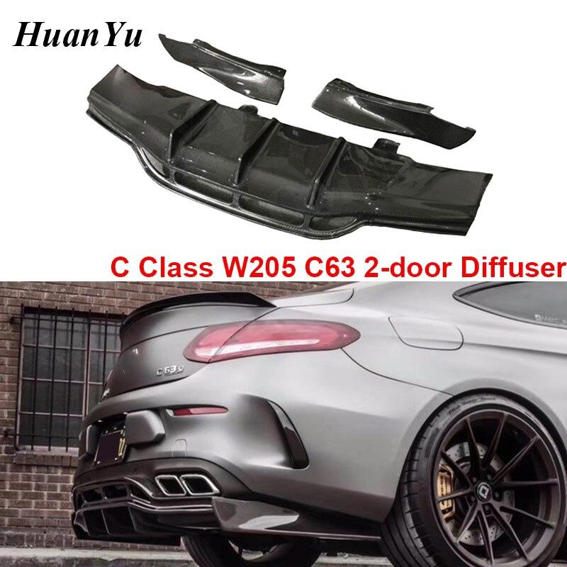C63 2-Difusor com Divisor de Porta De Fibra De Carbono para Mercedes-benz Classe C W205 C63 Traseira Sport Coupe edição Amortecedor Traseiro Lábios PSM