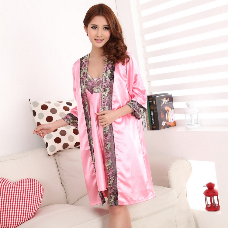 Women s Pink Sleeping Clothes Set Sexy and Elegant Knee Length Satin  Nightgown and Robe set with Lace Decoration Soft Silky 70c656b66f