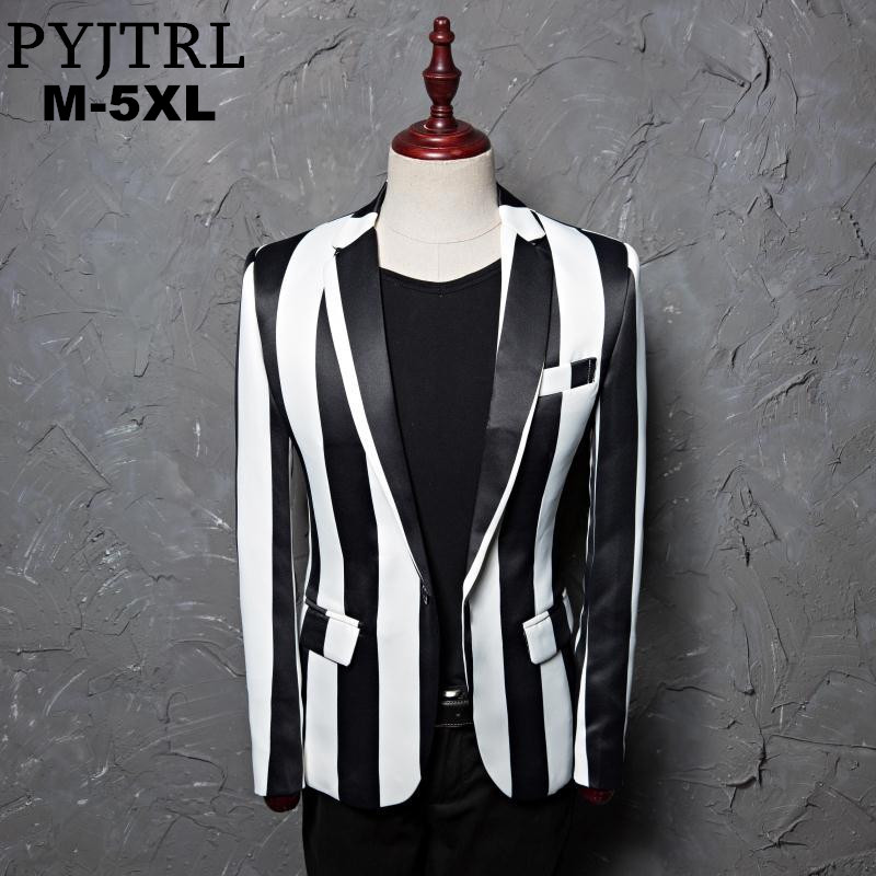 PYJTRL Brand M-5XL New Tide Men Black White Zebra Stripe Blazer Male Stage Wear Masculino Slim Fit Fashion Casual Suit Jacket